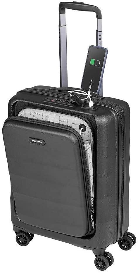 Maletas de Cabina 55x40x20 con USB de Carga Equipaje de Mano Trolley rigida 4 Ruedas giratorias 360º candado TSA Maleta Ryanair, Grandes Resistentes Sulema (Negro)