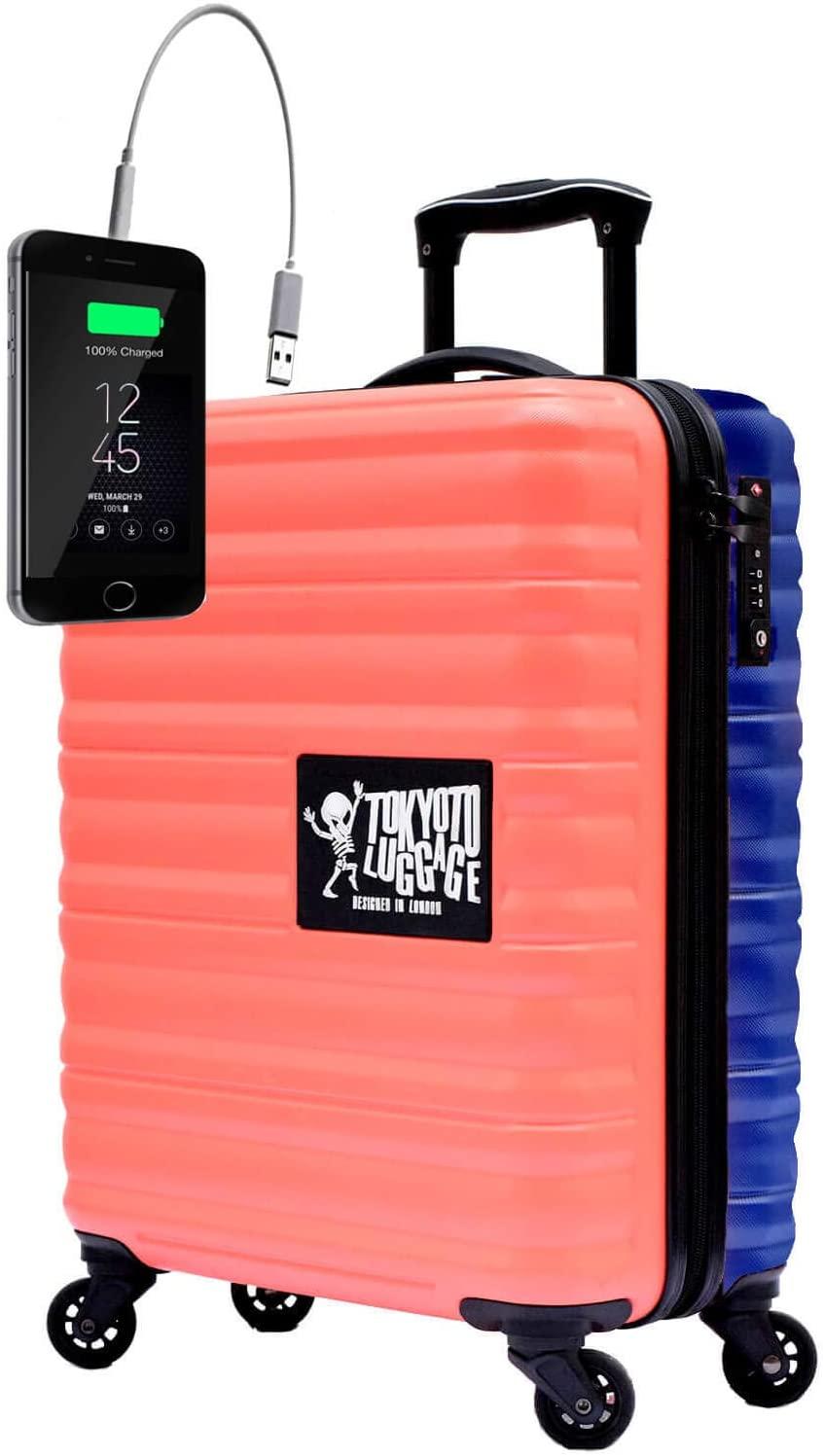 TOKYOTO - Maleta de Cabina Equipaje de Mano Juvenil Adulto Niños con Cargador USB, 8000mAh, 55x40x20 cm | Trolley de Viaje Ryanair, Easyjet | Maleta de Viaje Rígida Divertida Coral Azul
